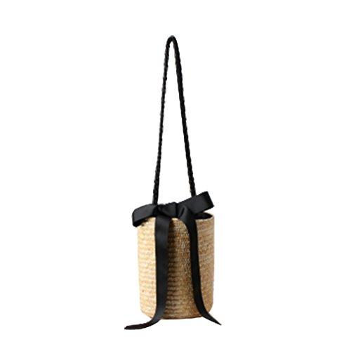 Crossbody 16 YOUJIA Summer 23cm Tote Holiday Bucket 1 Bag Straw Light Black 1 Women Khaki Drawstring Ribbon Beach Bags x4xvqRr
