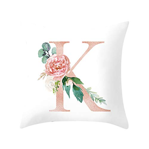 Throw Pillow Covers, Fulijie Rose Letter Print Throw Pillow Cases Cushion Cover for Bed Car Sofa Home Decor 18 x 18 Inch