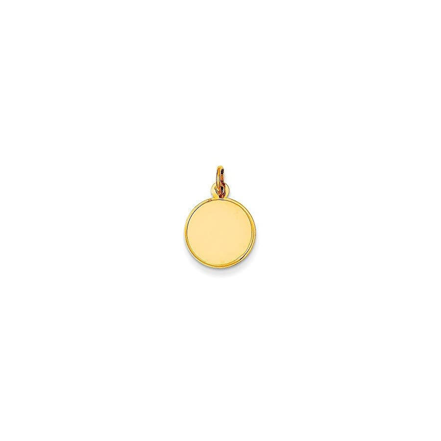 14k Gold Plain .027 Gauge Engraveable Round Disc Charm Pendant (0.75 in x 0.51 in)