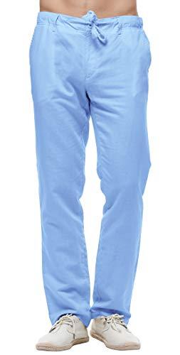 (chouyatou Men's Casual Drawstring Straight Fit Beach Linen Capri Pants (Large, Full Length-Light Blue))