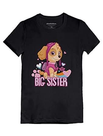Official Paw Patrol - Skye Big Sister Toddler/Kids Girls' Fitted T-Shirt 2T Black