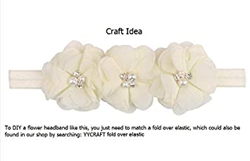YYCRAFT Pack Of 20 Pieces Chiffon 2 Flower Rhinestone Pearl for craft projects-Snow White