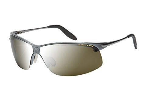 Eagle Eyes Men's Pro-Master Pano-Vu Sports Wrap Polarized Sunglasses,Gunmetal/Silver Flash Mirror, - Eagle Eyes Sunglasses