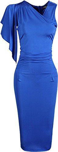 Jeansian Vestido De Temperamento Te Tendencia De Las Mujer Women Trend Temperament Dress WKD174 Blue