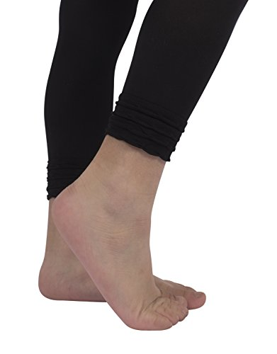 911745777ea2d CALZITALY Microfiber Girl Leggings with Flounces | 50 Den | Pink, Black,  White | 4/6 8/10 | Made in Italy (Black, 4/6 Years)