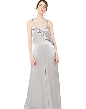 Mango Women's Ruffle Long Dress