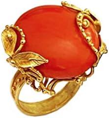 I Gioielli del mare - Anillo Coral Cerdeña de oro de 18 quilates trabajado en cera perdida