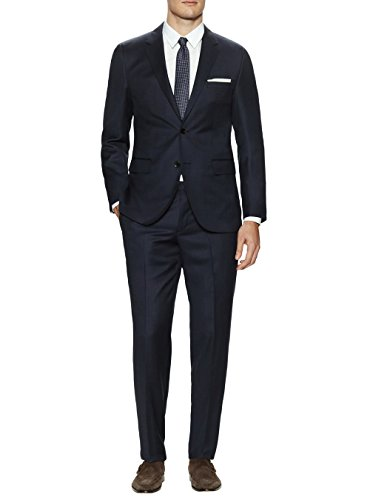 Valentino 2 Piece - Gino Valentino Men's Two Button Jacket 2 Piece Modern Fit Birdseye Suit (36 Regular US / 46R EU/W 30