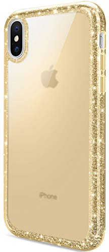 DAUPIN Compatible for iPhone Xs Max Phone Case Colorful Luxury Sparkle Glitter Bling Cover Slim Thin Clear Cases for Women Girls for iPhone Xs Max 6.5 Inch 2018 (Gold)