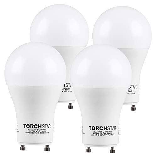 TORCHSTAR 9W Dimmable A19 LED Light Bulb GU24 Base, Energy Star UL-Listed Bulb, 60W Equivalent, 840 Lumens, 5000K Daylight, 310° Omni-Directional General Lighting, 3 Years Warranty, Pack of 4