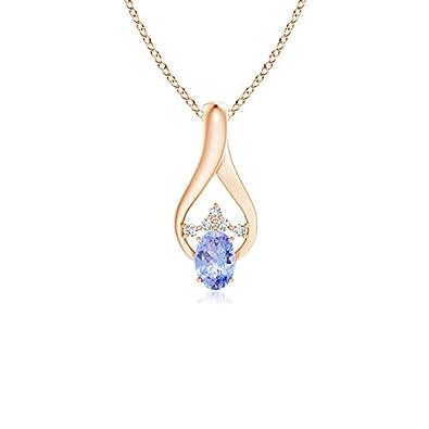 Angara Oval Tanzanite Wishbone Pendant with Diamond Accents FghN6Di