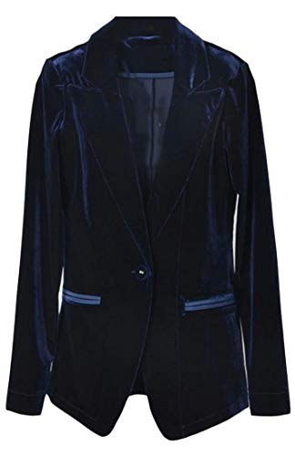 XTX Women Velvet Suit Coat Velour Long Sleeve Casual Blazer Jacket Dark Blue XXS