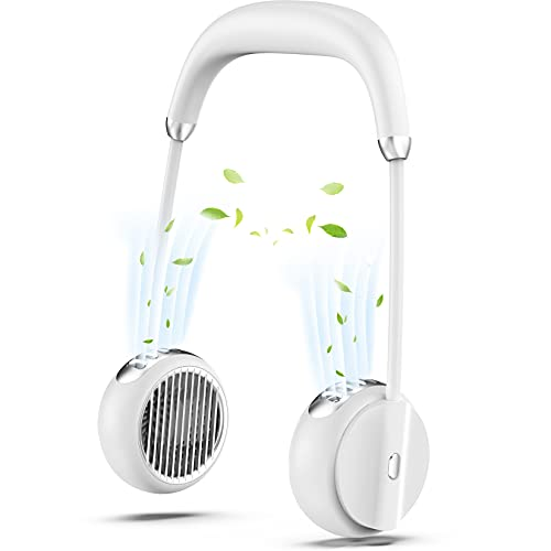 Tragbarer Nackenventilator, neues Headset-Design USB-Ventilator 4000mAh Einstellbare 3-stufige Geschwindigkeit Blattlos Bessere Kühlung Wiederaufladbarer Persönlicher Ventilator White Neck Fan