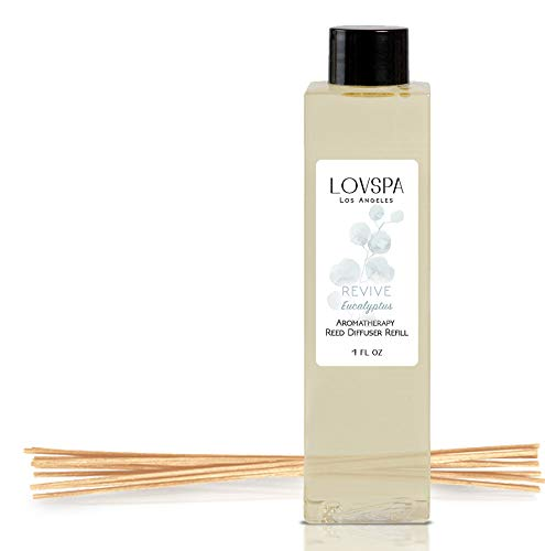 - LOVSPA Revive Eucalyptus Reed Diffuser Oil Refill with Replacement Reed Sticks | Eucalyptus Essential Oil, Sage, Bamboo, Citrus and Mint. | 4 oz| Made in The USA