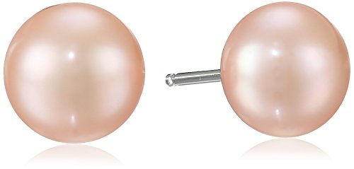 Cultured Pearl Rose Earrings (Honora Sterling Silver Rose Button Freshwater Cultured Pearl Stud Earrings)