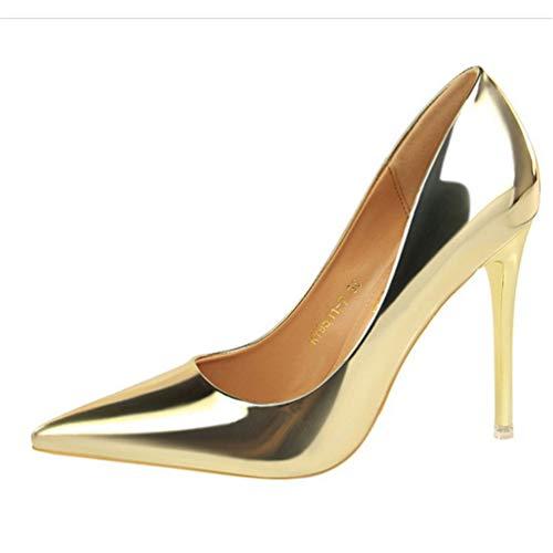 Aiguilles Hauts De Escarpins En Cuir Bureau Or Peu Minces Dames Profondes Pointe Femmes Talons Chaussures pwzY55