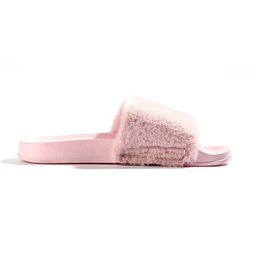 94d6ba3c9 FITORY Women Slides Slippers,Faux Fur Slide Slip On Flats Sandals with Arch  Support Open Toe Soft Girls Indoor Outdoor Shoes