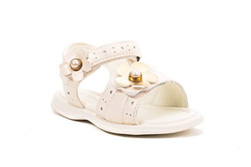 Vita Kids Summer Flower Sandals - Shoes Girls, White Gold, 7 M US (Adjustable Strap Sandals)