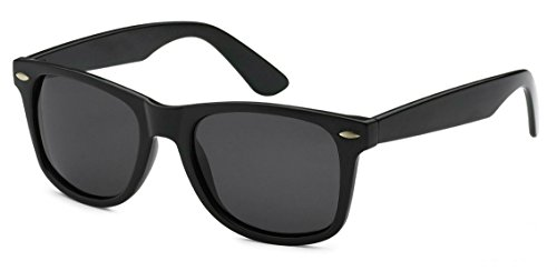 Sunglasses Classic 80's Vintage Style Design (Black Gloss, - Sunglass Business