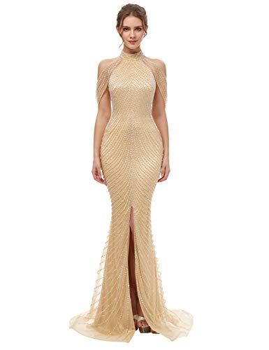 Sarahbridal Women's Fornt Split Prom Evening Dresses Long Backless Beading High Neck Formal Gowns Champagne - Dress Split Neck Beaded