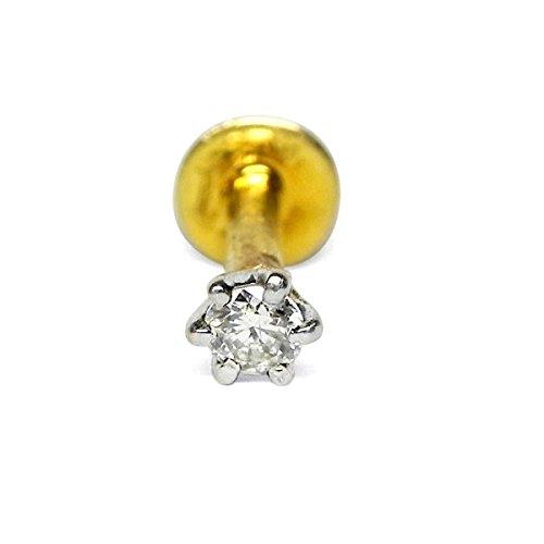 Designer Nose Stud - Women Natural Single Round Diamond Gold Hallmark Nose Piercing Pin Jewelry- Customize Rose, Yellow or White Gold in 14K,18K Gold (18k Purity Ring)