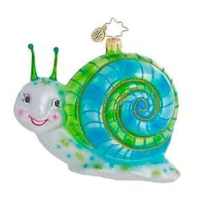 Christopher Radko Glass Little Samuel Blue Snail Christmas Ornament #1016447