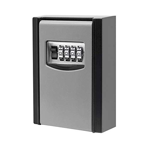 Key Lock Box, 4 Digit Combination Key Storage Lock Box, Wall Mounted Lock Box, Airbnb Key Safe Box - Resettable Code
