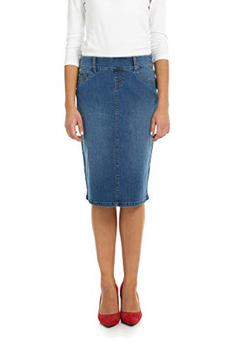 (Esteez Jean Skirt for Women Knee Length Denim Pencil Boston Classic Blue 10 )