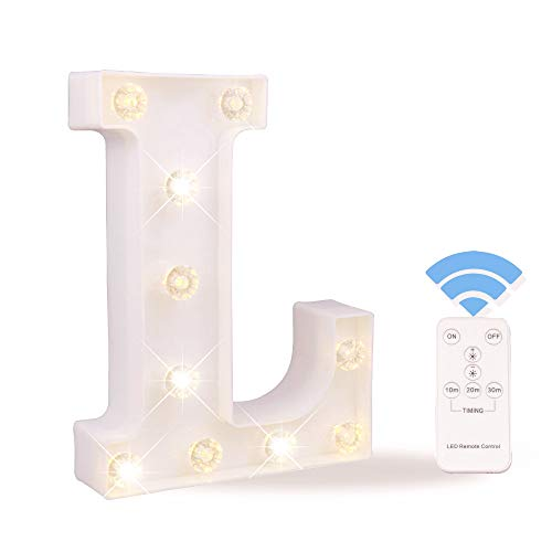 Obrecis LED White Light Up Marquee Letter Sign with Remote Control Timer Dimmable for Party Wedding Decor, Alphabet Wall Decoration Letter Lights, Letter L ()