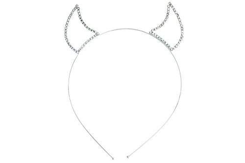 Rosemarie Collections Women's Rhinestone Devil Horns Headband (Silver Tone Clear) by Rosemarie Collections (Image #1)'