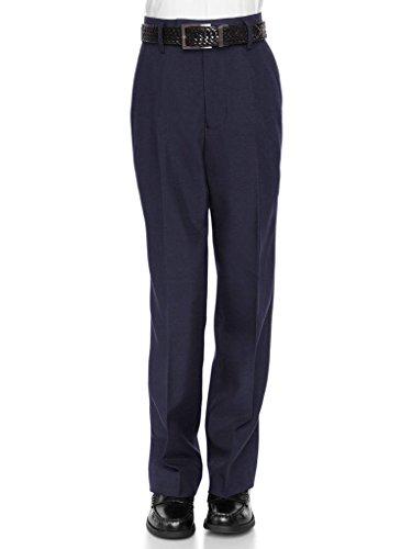 Navy Pants Dress Blue Slacks (RGM Boys Dress Pants Flat-Front - Slim fit Dress Slacks 100% Dacron Navy 5)