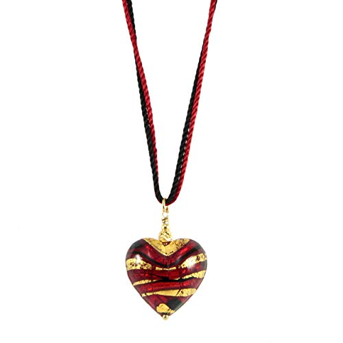 - Sezione Aurea - Women's necklace Heart pendant in 24 kt gold plated silver and Murano glass worked with gold leaf by Giusto Manetti Firenze