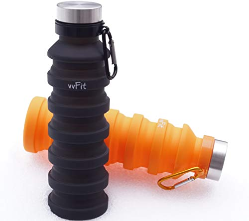 vvFit 2-PACK Collapsible Water Bottle   Travel Water Bottle   BPA Free   FDA Approved   Food-Grade Silicone   Best Gift For Travelers   Hiking-Gym-Running-Beach   Leak Proof   Portable-Foldable -