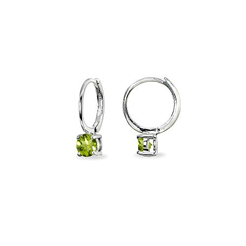 (Sterling Silver Peridot 5mm Solitaire Small Round Huggie Hoop Earrings for Women Teen Girls)