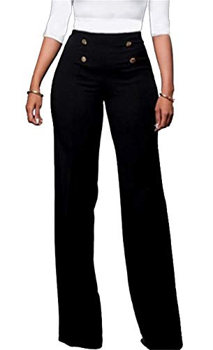 Symina Womens Wide Leg Pants Casual Solid Stretchy High Waist Pants Trousers with Buttons ()