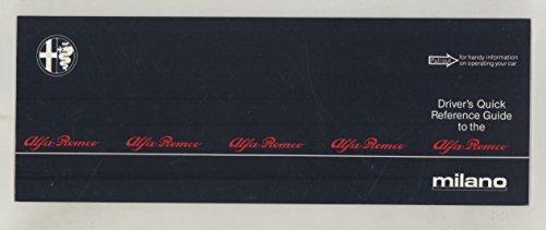 1987 Alfa Romeo Milano Driver's Quick Reference Guide Manual Brochure Brochure Manual Guide