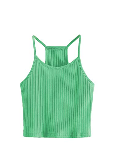 (SheIn Women's Summer Basic Sexy Strappy Sleeveless Racerback Crop Top Large #Green)