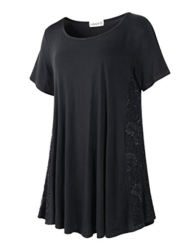 LARACE Women Lace Tunic Top Short Sleeve Flare T Shirt for Leggings(L, Black)