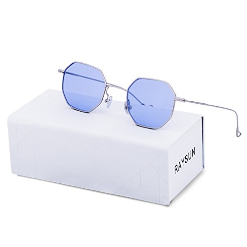 7c274be48c RAYSUN Women Hexagon Blue Transparent Sunglasses Small Polygon UV 400  Lightweight Metal Rim Fashion Cheap Retro