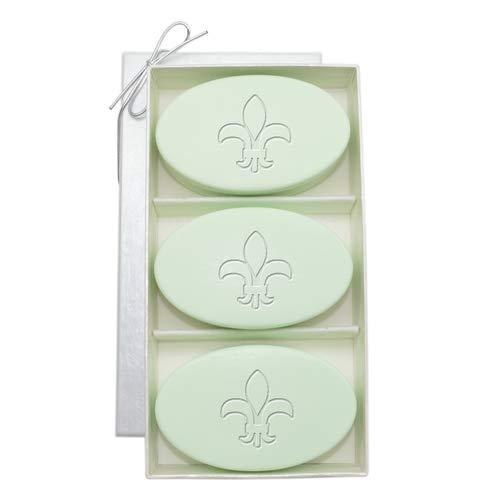 Fleur De Lis Spa - Carved Solutions Gift Set Signature Spa Soap Green Tea and Bergamot for Housewarming or Wedding Gift (Fleur de lis)