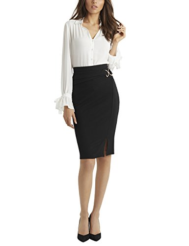 LIPSY Womens Buckle Pencil Skirt (Buckle Pencil Skirt)