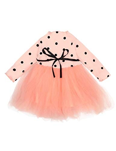 Toddler Infant Baby Girls Clothes Long Sleeve Polka Dot Tutu Tulle Princess Dress One-Piece Skirt Set(6-12 Months) Pink