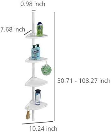 Wenko 3201010100 Rinconera para Ducha telescópica Compact Blanco - 4 repisas, Aluminio, 26 x 78-275 x 19.5 cm, Blanco