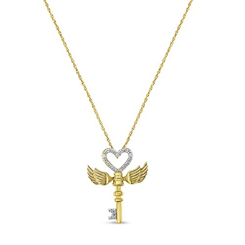 Original Classics Yellow Plated Sterling Silver Diamond Winged Heart-Key Pendant Necklace (0.03 cttw, H-I Color, I2-I3 - Silver Winged Heart
