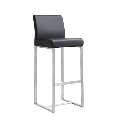 TOV Furniture The Denmark Collection Modern Style Eco-Leather Upholstered Stainless Steel Counter Stool (Set of 2), Black - Leather Steel Bar Stool