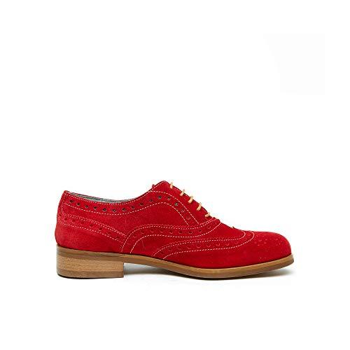 Cordones Mujer Frank Rojo De Para Oxford Piel Daniel Zapatos Br0SqwIxF0