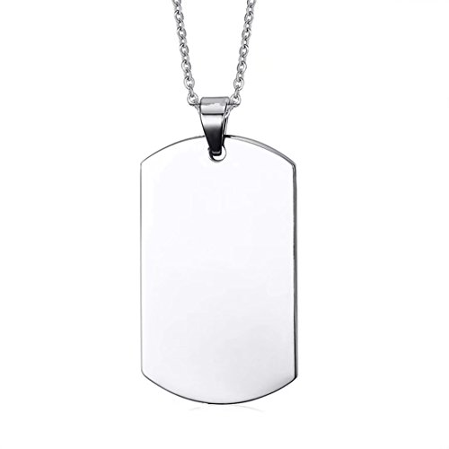 DIB Free Engraving Polished Rectangle Stainless Steel Plain Dog Tag ID Pendant Necklace with 24