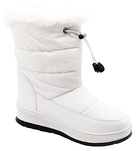 - Top White Insulated Faux Fur Snow Boots Bailey Heeled Round Toe Anti Skid Slip On Fashion Stylish Fun Cute Sexy Pretty Women Bootie Shoe Last Minute Xmas Gift Idea for Ladies Misses (Size 9, White)