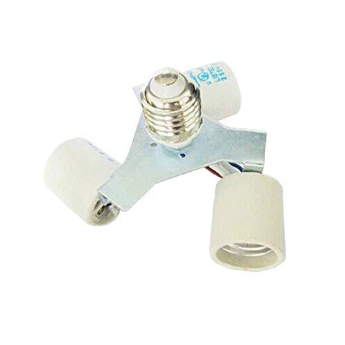 SmartDealsPro Ceremic E27 Male to 3 Female Shape LED CFL Light Bulb Base Converter Adapter Splitter Lamp Holder