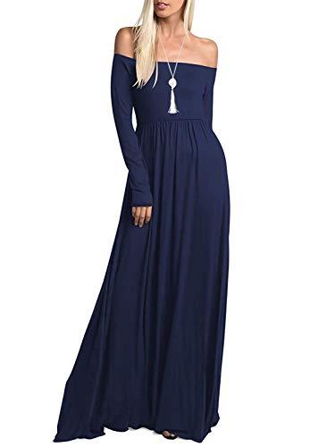 db766dd7b8e Amoretu Womens Casual Long Sleeve Off Shoulder Maxi Long Dress with Pocket